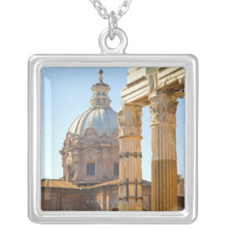 View of Santi Luca e Martina in the Roman Forum Silver Plated Necklace