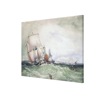 View of Scarborough, with a Collier Brig Canvas Print