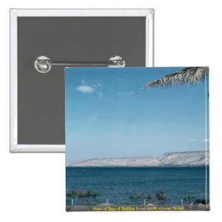 View of Sea of Galilee from south shore, Israel 15 Cm Square Badge