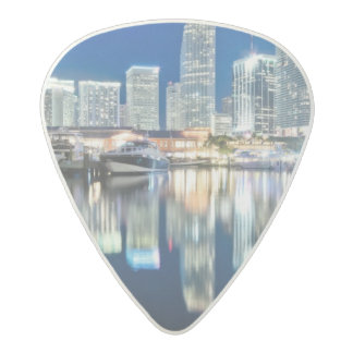 View of skyline with reflection in water, Miami Acetal Guitar Pick