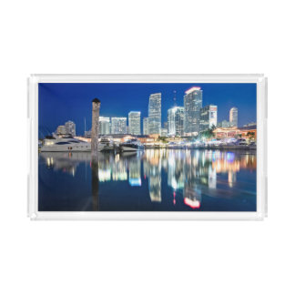 View of skyline with reflection in water, Miami Acrylic Tray