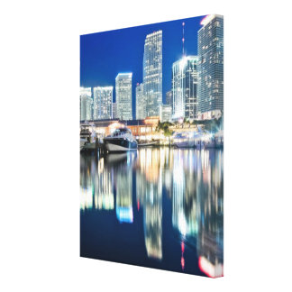 View of skyline with reflection in water, Miami Canvas Print