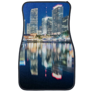 View of skyline with reflection in water, Miami Car Mat