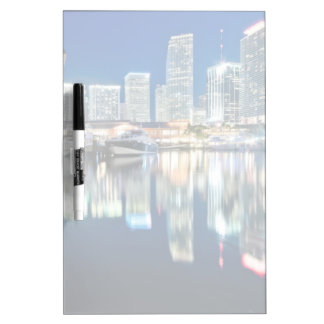 View of skyline with reflection in water, Miami Dry Erase Board