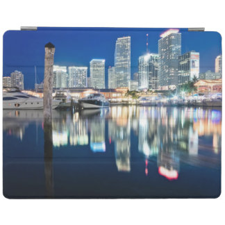 View of skyline with reflection in water, Miami iPad Cover