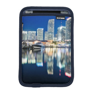 View of skyline with reflection in water, Miami iPad Mini Sleeve