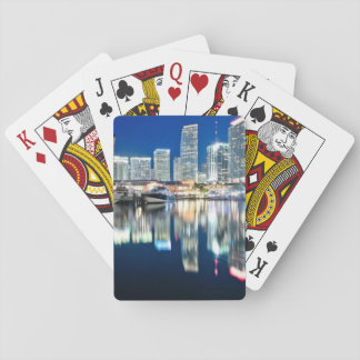View of skyline with reflection in water, Miami Playing Cards