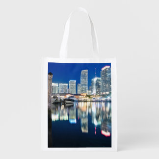 View of skyline with reflection in water, Miami Reusable Grocery Bag