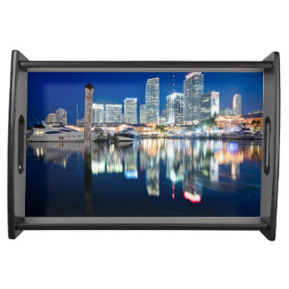 View of skyline with reflection in water, Miami Serving Tray
