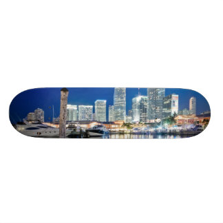 View of skyline with reflection in water, Miami Skate Decks