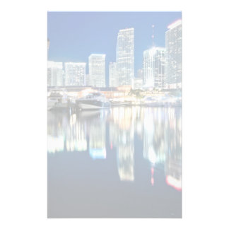 View of skyline with reflection in water, Miami Stationery