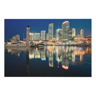 View of skyline with reflection in water, Miami Wood Print