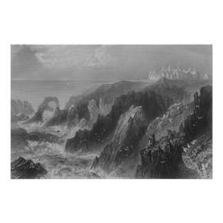 View of Slaines Castle, near Peterhead Poster