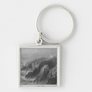 View of Slaines Castle, near Peterhead Silver-Colored Square Key Ring