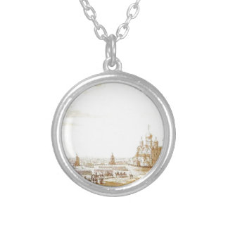 View of Sobornaya Square in the Moscow Kremlin Round Pendant Necklace