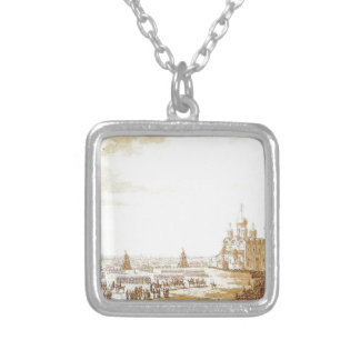 View of Sobornaya Square in the Moscow Kremlin Square Pendant Necklace