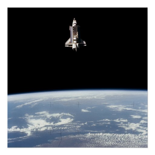 View of Space Shuttle Challenger above Earth Print