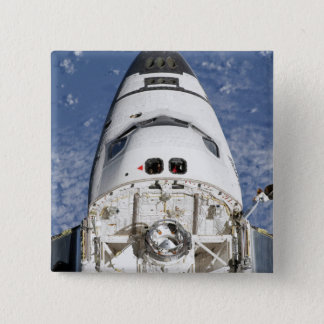 View of space shuttle Endeavour's crew cabin 15 Cm Square Badge