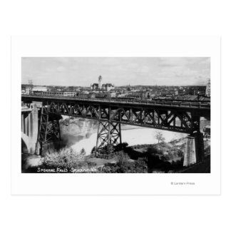 View of Spokane Falls and Bridge Postcard