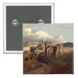 View of St. John Lateran, Rome, 1822 15 Cm Square Badge