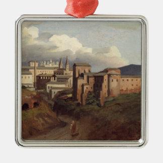 View of St. John Lateran, Rome, 1822 Silver-Colored Square Decoration