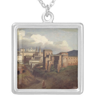 View of St. John Lateran, Rome, 1822 Silver Plated Necklace