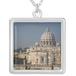 View of St Peter's with the Ponte sant' Angelo Silver Plated Necklace