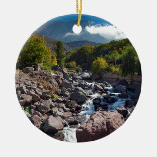 View of stream, Toubkal, High Atlas Mountains Round Ceramic Decoration