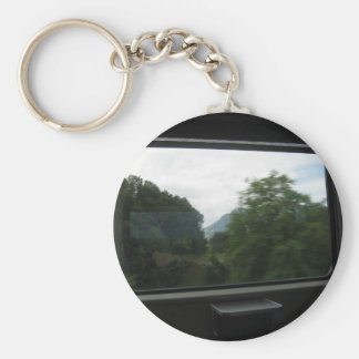 View of Swiss countryside from a train Keychain