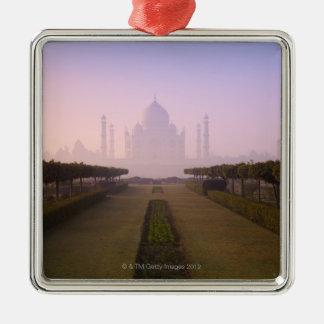 View of Taj Mahal at Sunrise Silver-Colored Square Decoration
