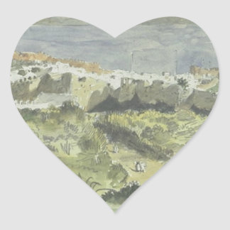 View of Tangier by Eugene Delacroix Heart Sticker
