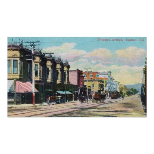 View of Telegraph Ave with Horse Carts Poster