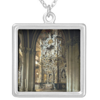 View of the altar and the 'Transparente', c.1720 Silver Plated Necklace