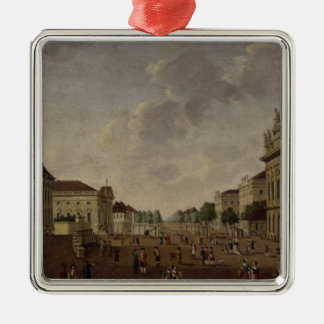View of the armory and Unter den Linden Street Silver-Colored Square Decoration