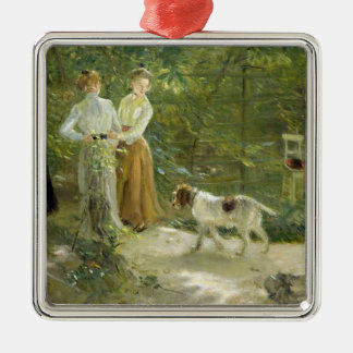 View of the artist's garden with his daughters christmas ornament
