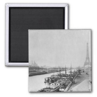 View of the banks of the Seine & the Eiffel Square Magnet