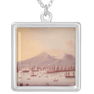 View of the Bay of Naples, 1798 Silver Plated Necklace