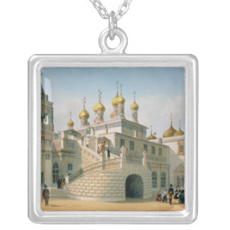 View of the Boyar Palace in the Moscow Kremlin Square Pendant Necklace