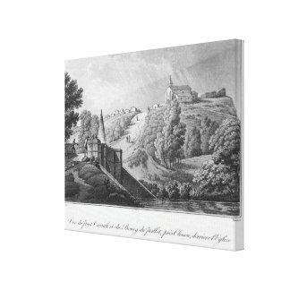 View of the Cacault bridge and village of Canvas Print