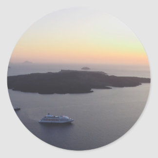View of the Caldera in Santorini Island in Greece Classic Round Sticker