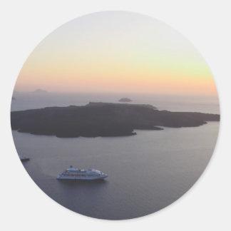 View of the Caldera in Santorini Island in Greece Round Sticker
