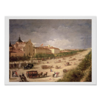 View of the Calle de Alcala, Madrid (oil on canvas Poster