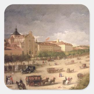 View of the Calle de Alcala, Madrid (oil on canvas Square Sticker