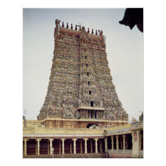 View of the carved exterior of the south gopuram poster