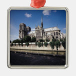 View of the Cathedral from the Seine, 1163-1345 Silver-Colored Square Decoration