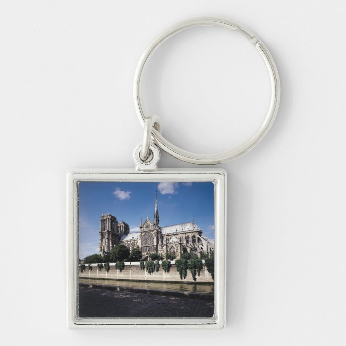 View of the Cathedral from the Seine, 1163-1345 Silver-Colored Square Key Ring
