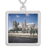 View of the Cathedral from the Seine, 1163-1345 Square Pendant Necklace