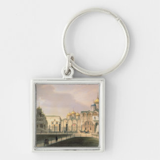 View of the Cathedrals in the Moscow Kremlin Silver-Colored Square Key Ring