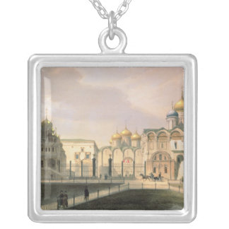 View of the Cathedrals in the Moscow Kremlin Silver Plated Necklace