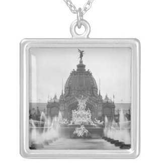 View of the Central Dome and the Fountain Silver Plated Necklace